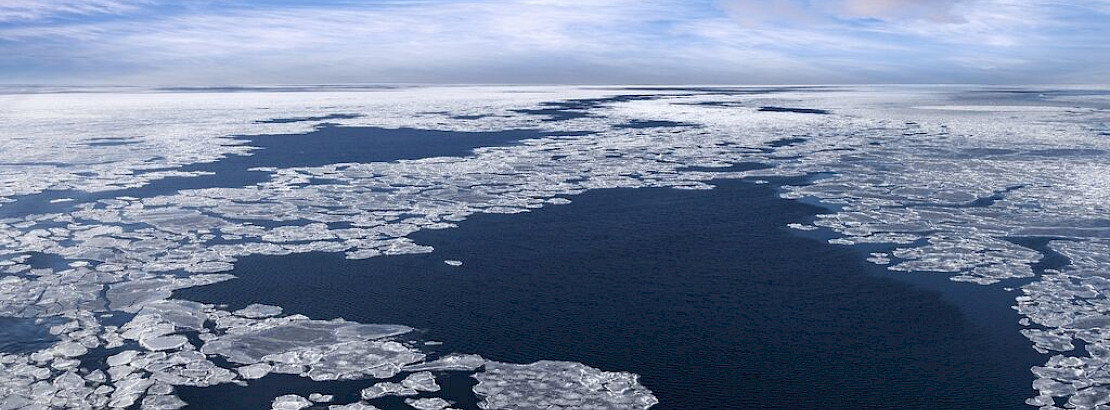 Sea ice in the Arctic.