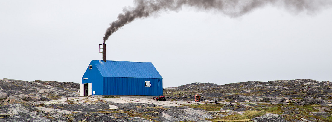 Rodebay, Greenland - July 09, 2018: The local waste incineration plant. Rodebay, also known as Oqaatsut is a fishing settlement north of Ilulissat. Photo: iStock