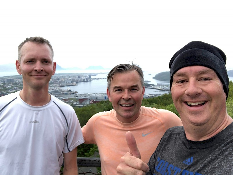 From left to right: Adam Mosley, United States; Dan Cowan, Canada; Benjamin Strong, United States atop a hill on the outskirts of Bodo, Norway before an EPPR meeting